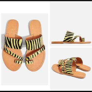 TOPSHOP Yellow Leather Animal Flat Sandals